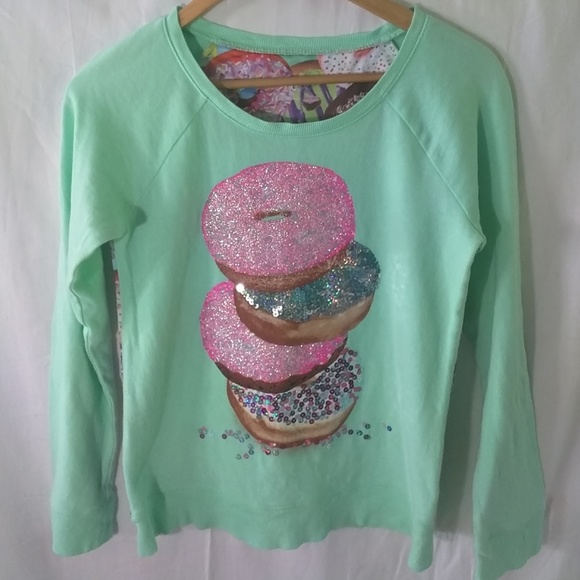 5f5235813ef9 Justice Shirts & Tops | Long Sleeve Donut Mint Green Sparkle Top ...